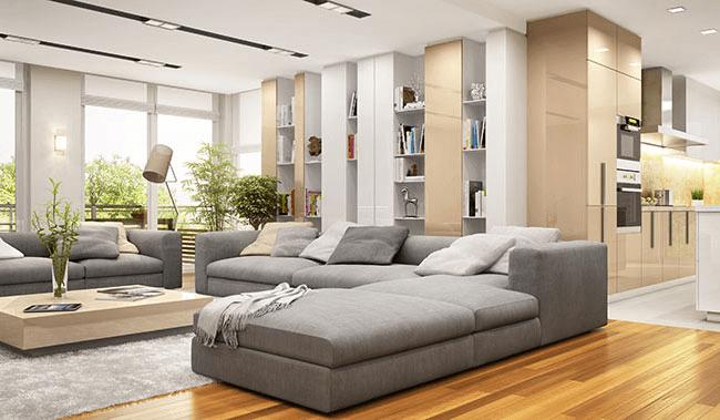 möbliertes Wohnzimmer